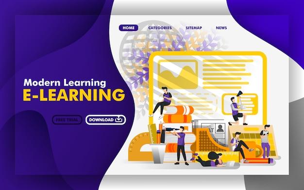Pagina web di apprendimento moderno vettoriale