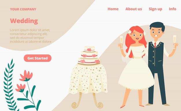 Pagina web di atterraggio di celebrazione di nozze, illustrazione del fumetto del modello del sito web dell'insegna di concetto. banner della pagina del sito web, festa moderna personaggio sposata