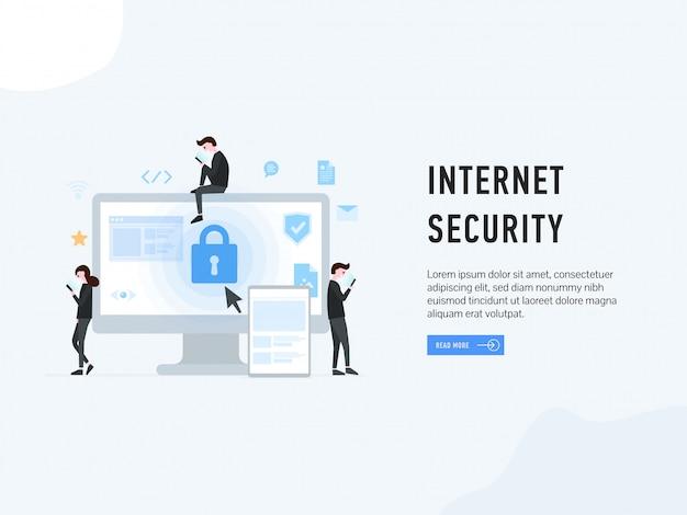 Pagina web di atterraggio di sicurezza internet