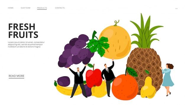 Pagina web di frutta fresca. piccola gente, ananas, banane, paffuto, illustrazione dell'uva. pagina di destinazione dieta dietetica