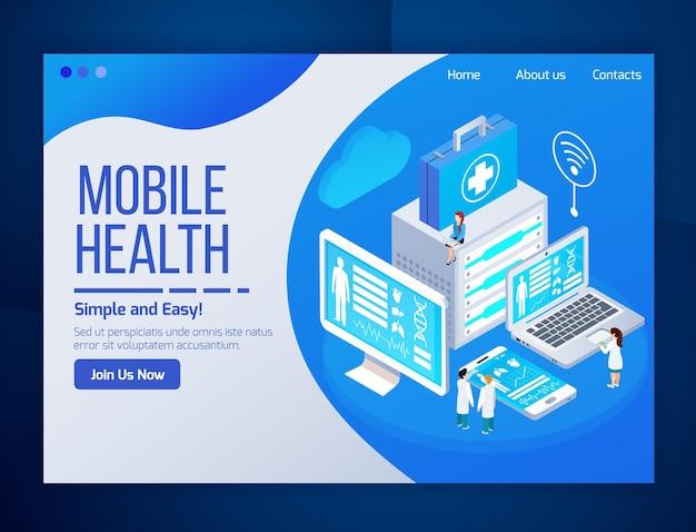 Pagina web isometrica bagliore di telemedicina mobile di assistenza sanitaria con schermi di telefoni tablet per test medici portatili