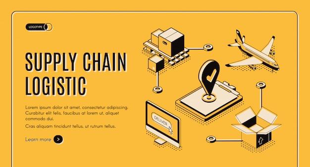 Pagina web isometrica della catena di fornitura dell'azienda logistica