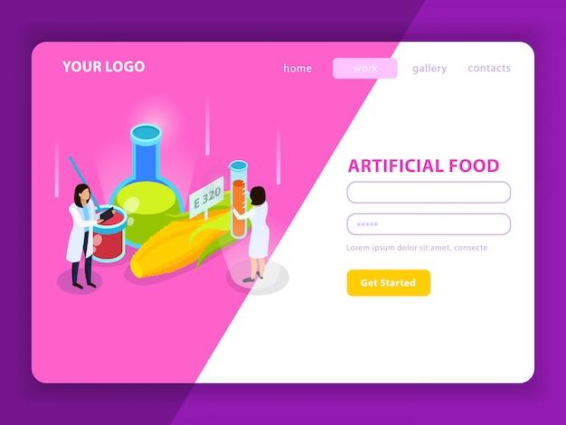 Pagina web isometrica di alimenti artificiali con additivi sintetici con account utente su bianco rosa