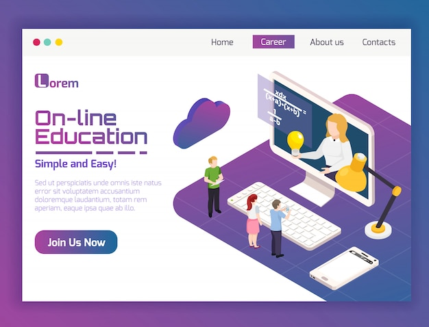 Pagina web isometrica online di applicazione isometrica per l'apprendimento a distanza di corsi universitari di insegnamento flessibile