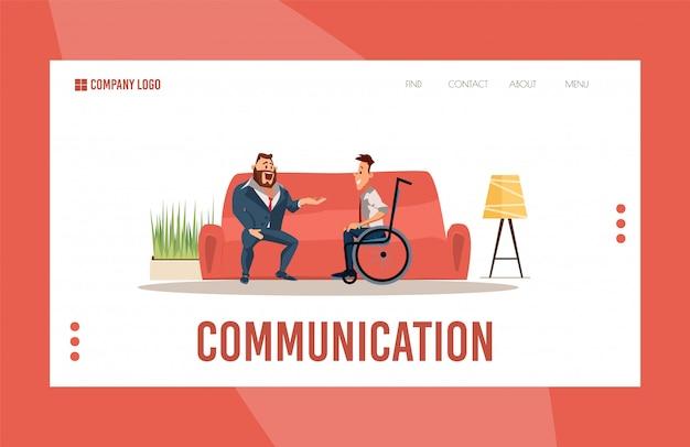 Pagina web piana di sostegno sociale delle persone disabili