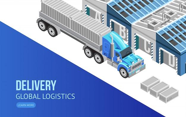 Pagina web sulla consegna e logistica globale