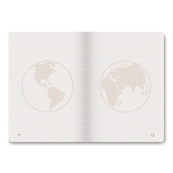 Pagine bianche passaporto realistico per francobolli. passaporto vuoto con filigrana.