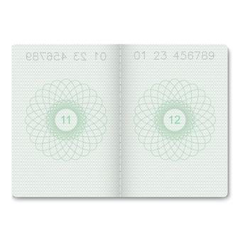 Pagine bianche passaporto realistico per francobolli.