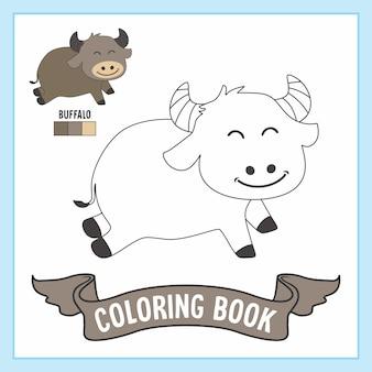 Pagine del libro da colorare degli animali della buffalo