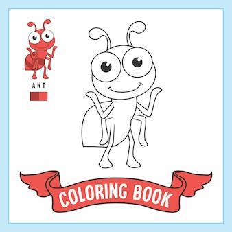 Pagine del libro da colorare di animali della formica