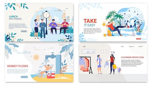 Pagine di destinazione piane alla moda impostate per le entrate aziendali