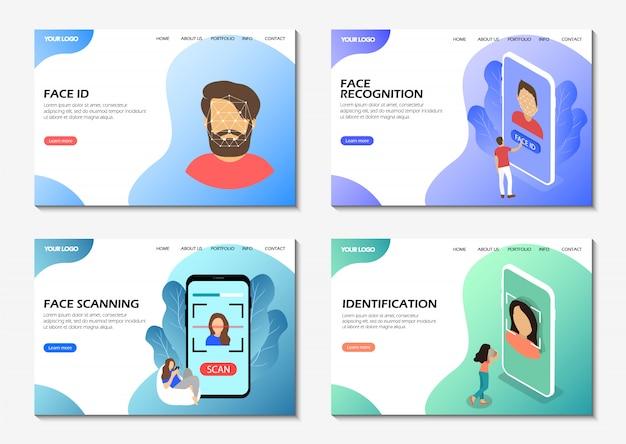 Pagine di destinazione. riconoscimento facciale, scansione facciale, identificazione. pagine web moderne per siti web.