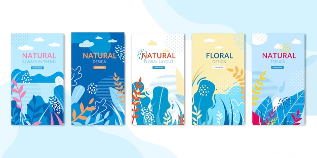 Pagine sociali con design naturale e floreale