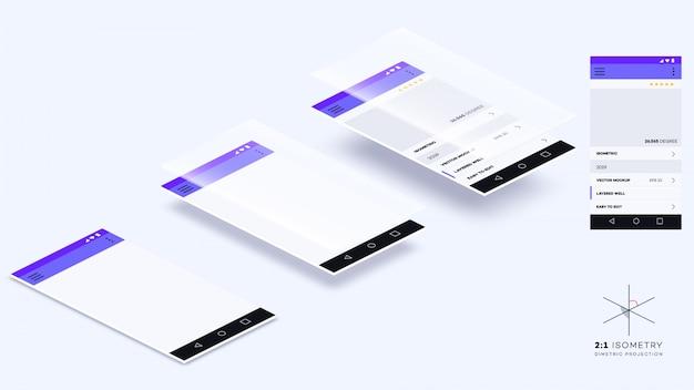 Pagine vuote dell'app mobile isometrica. mockup vettoriale per mobile app showcase
