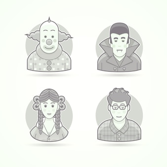 Pagliaccio da circo, vestito da vampiro, look da scolaretta, nerd. set di illustrazioni di personaggi, avatar e persone. stile delineato in bianco e nero.