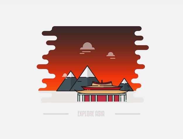 Pagoda e montagna sullo sfondo illustrazione
