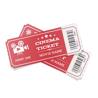 Paia realistiche dei biglietti per il cinema rossi moderni isolati su bianco