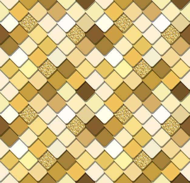 Paillettes mosaico d'oro alla moda sfondo senza soluzione di continuità con glitter.