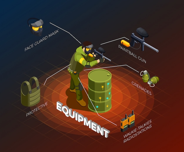 Paintball player isometric infographics