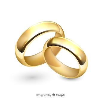 Paio realistico di anelli di nozze d'oro