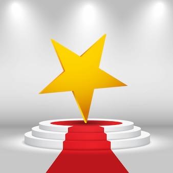 Palco circolare con stella e tappeto rosso