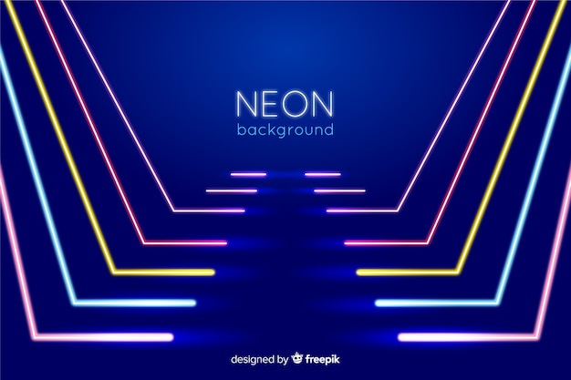 Palco con linee di luci al neon