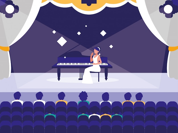 Palco con spettacolo di pianisti