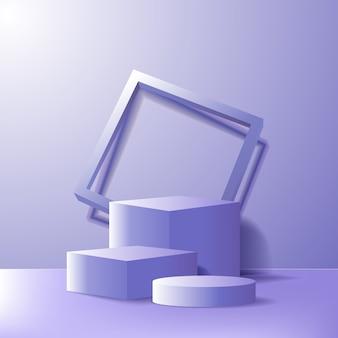 Palco del podio vuoto di minimalismo moderno per il modello di vetrina di visualizzazione del prodotto. scatola geometrica 3d blu viola e cilindro con cornice