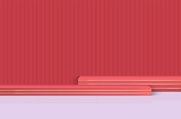 Palco, podio per la cerimonia di premiazione su uno sfondo rosso.