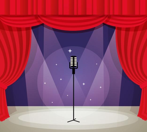 Palcoscenico con microfono in riflettore con illustrazione vettoriale di sfondo rosso tenda.