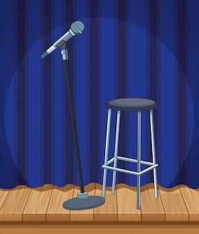 Palcoscenico con sgabello per microfono alzarsi spettacolo comico