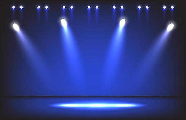 Palcoscenico notturno con illuminazione sfondo scena riflettori
