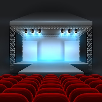 Palcoscenico teatro vuoto con illuminazione spotlight. sala concerti con file di podi e sedili rossi. mostra palcoscenico per concerti, interni podio per conferenze e spettacoli. illustrazione vettoriale