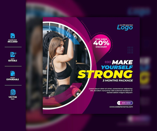 Palestra e fitness social media post facebook post instagram story template premium