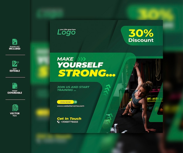 Palestra social media post template premium