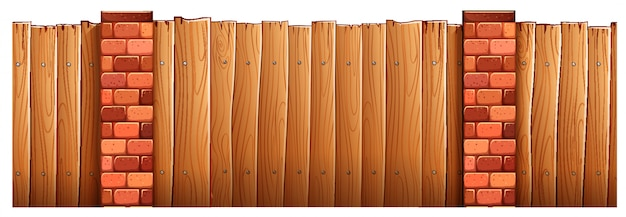 Pali in legno recinzione e mattoni
