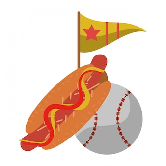 Palla da baseball hot dog e bandiera con stella