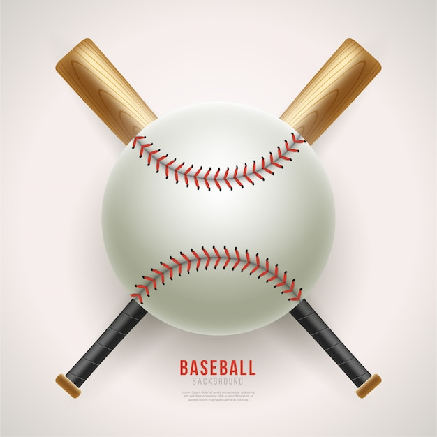 Palla da baseball realistico e sfondo pipistrello