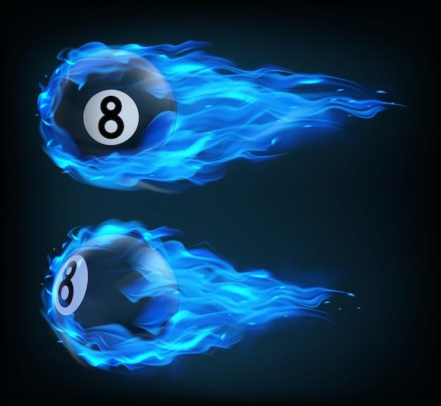Palla da biliardo nera volante otto in fuoco blu
