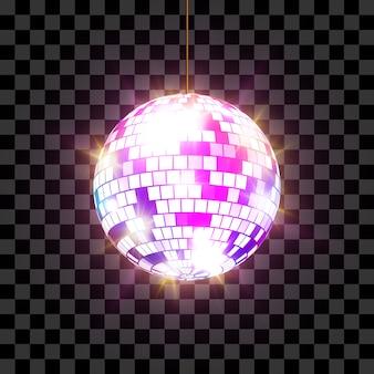 Palla da discoteca con raggi di luce su sfondo trasparente, illustrazione.