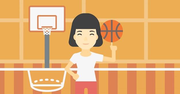 Palla da spinning del giocatore di pallacanestro.