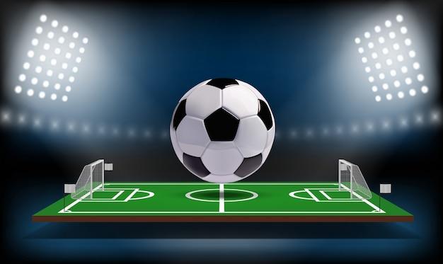 Palla del campo da gioco 3d di calcio o di calcio.