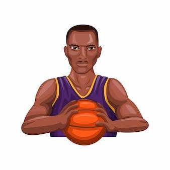 Palla della tenuta del giocatore di canestro, atleta di pallacanestro dell'uomo di colore