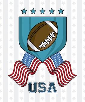 Palla di football americano di usa sul distintivo con progettazione grafica dell'illustrazione di vettore dell'emblema delle bandiere