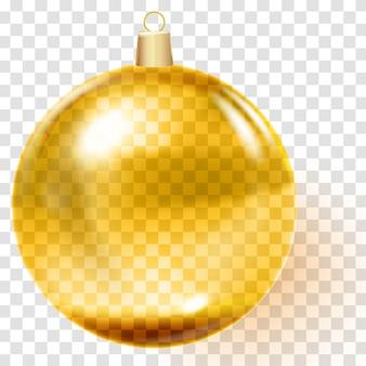 Palla di natale dorata. giocattolo d'oro dell'albero di natale.