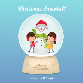Palla di neve di natale con i bambini