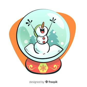 Palla di neve di natale pupazzo di neve del fumetto