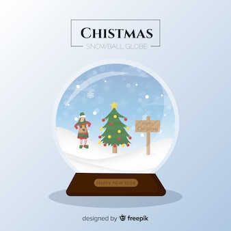 Palla di neve di natale ragazza elfo piatto