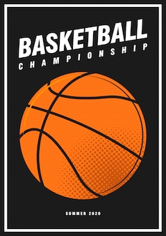 Palla di stile di pop art dell'insegna di progettazione del manifesto di sport di torneo di pallacanestro isolata sul nero