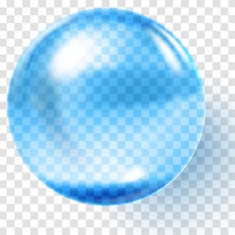 Palla di vetro blu realistica. sfera blu trasparente